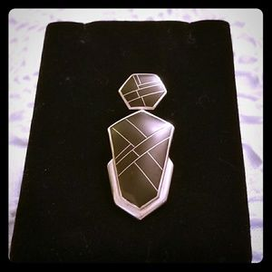 Sterling Silver Onyx Geometric Pendant